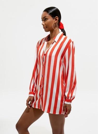 Loves You Loose Fit Viskon Tunik Elbise Kırmızı